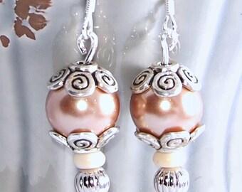 Czech Pearl Bobble Earrings
