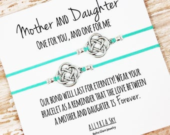 Set of Two Mother Daughter Charm Bracelets | Mom and Daughter Gift Jewelry | Matching Bracelets | Step-Mother, Step-Daughter | Mother's Day