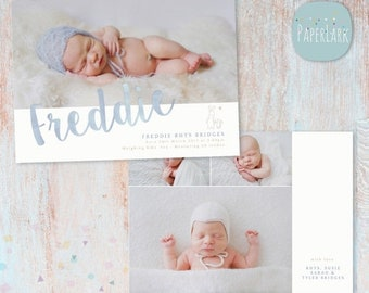 ON SALE Newborn Baby Announcement - Photoshop Card template - AN016 - Instant Download