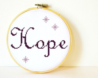 Counted Cross stitch Pattern PDF. Instant download. Hope. Includes easy beginner instructions.
