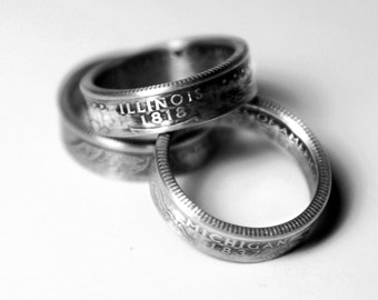 Handcrafted Ring made from a US Quarter - Illinois - Pick your size