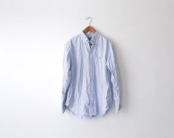 Tattered Collar 90s Striped Ralph Lauren Oxford - XL