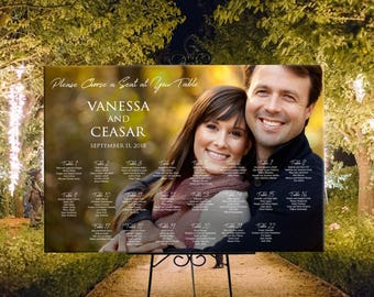Photo seating chart wedding, wedding seating assignment, printable Digital wedding sign, table assignment personalized photo seating plan
