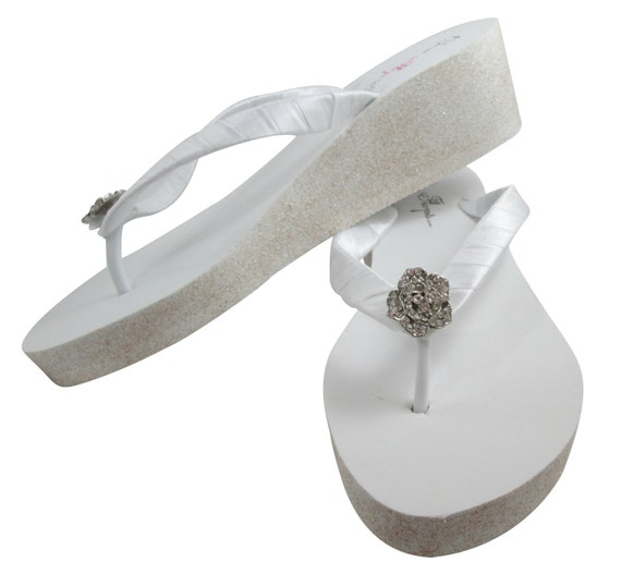 Glitter Bride Silver 2 or Flops Flower Gold Flip White Ivory Champagne Flip with Sandal Bridesmaid inch Flop heel Rose Wedge pqS5wBgB7