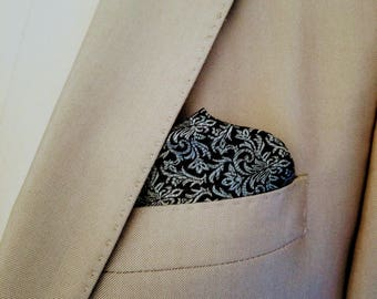 Pocket Square, Men's Pocket Square, Men's Accessories, Black and Gray Damask Pocket Square, Wedding Apparel, Men's Handkerchief, Groomsmen