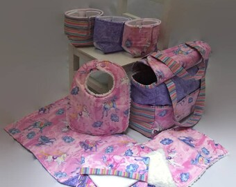Doll Diaper Bag with Accessories, big sister gift, play diapers, birthday gift, doll clothes, pretend play, baby dolls