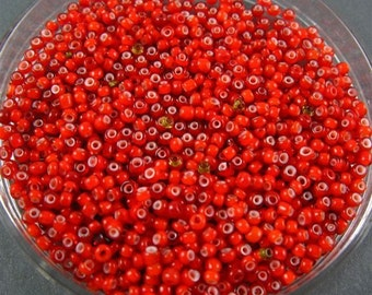 Vintage Italian Glass  Seed Beads - Red White Heart