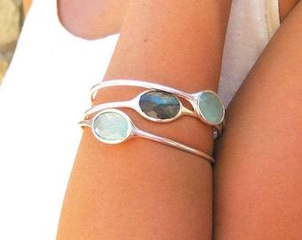 Gemstone Bangle - Chalcedony Bracelet - Labradorite Bangle