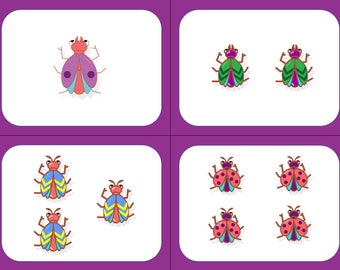 Flashcards - Count from 1 to 12 - Cute Bugs