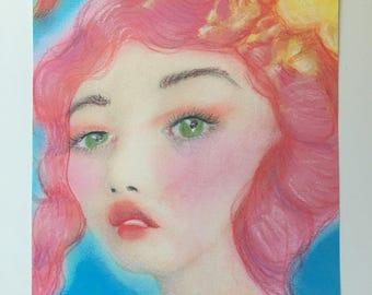 Fantasy Asian Pink Haired Girl Art