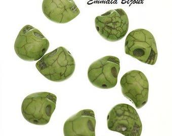 6 skull Howlite stone beads natural 12 mm
