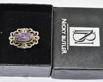 Nicky Butler Sterling Silver Purple Drusy Amethyst Filigree Ring 26mm Size 9
