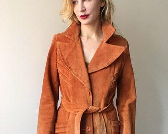 Vintage 70s Distressed Cognac Suede Jacket