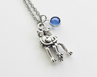 Hugging Frogs Necklace, Frogs Heart Necklace, Frog Couple, BFF Gift, Friend Birthday Gift, Silver Necklace, Swarovski Channel Birthstone