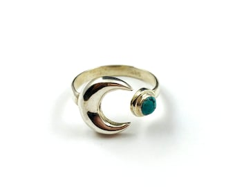 Crescent Moon Lunar Turquoise Silver Stone Ring Boho Unique Size 7 Jewelry Rings