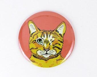 Ginger one eyed cat magnet, orange cat magnet, refrigerator magnet, cat button, tiger cat, office magnet, cat lover gift, sweet little cat