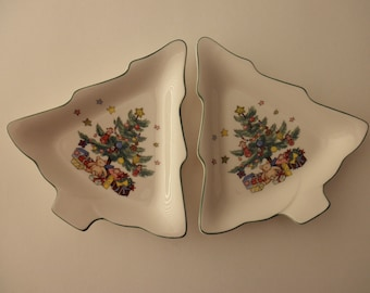 two vintage Nikko Christmas tree candy dishes
