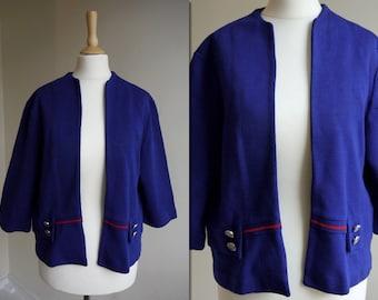 1960s Blue Open Cardigan Jacket * Size Medium - Large