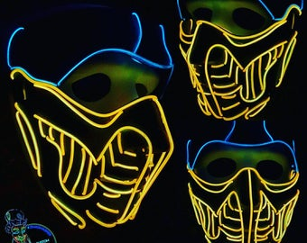 Mortal Kombat Scorpion Style Light Up Mask! 15+Ft EL Wire,Cosplay,Spiderman,Festival,Rave,Halloween,scary,party,handmade,neon,glow,LED,Ninja