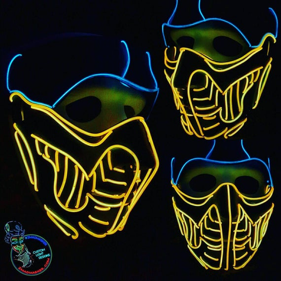 Mortal Kombat Scorpion Stil Leuchten Maske 15 ft EL-Wire