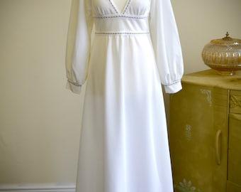 1970s disco vintage wedding dress, retro glam style, white with gold trim, maxi bridal dress, boho wedding, hippie