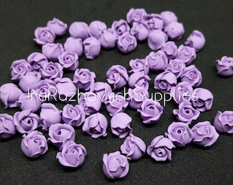 10 pcs.  Purple Roses Flowers,lavender, violet, polymer clay flower beads
