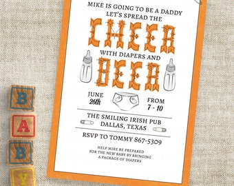Diaper and Dad Baby Shower Invitation Cheer and Beer Man Shower Personalized Custom Digital File with Professional Printing