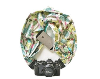 Reversible Cactus and Aqua Print Camera Strap with Lens Pocket -  The Original Camera Scarf Strap With Pocket
