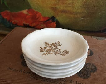 Tiny Plates Tea Set of 5 Replacement Shabby Chic Vintage Distressed White Ceramic Gold Floral