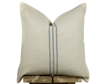 Grain Sack Pillow Cover | Modern Farmhouse Collection | Blue Stripe