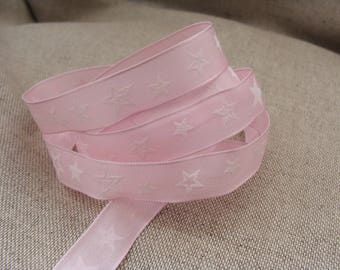Ribbons of white stars on pink brass set of 3 meters