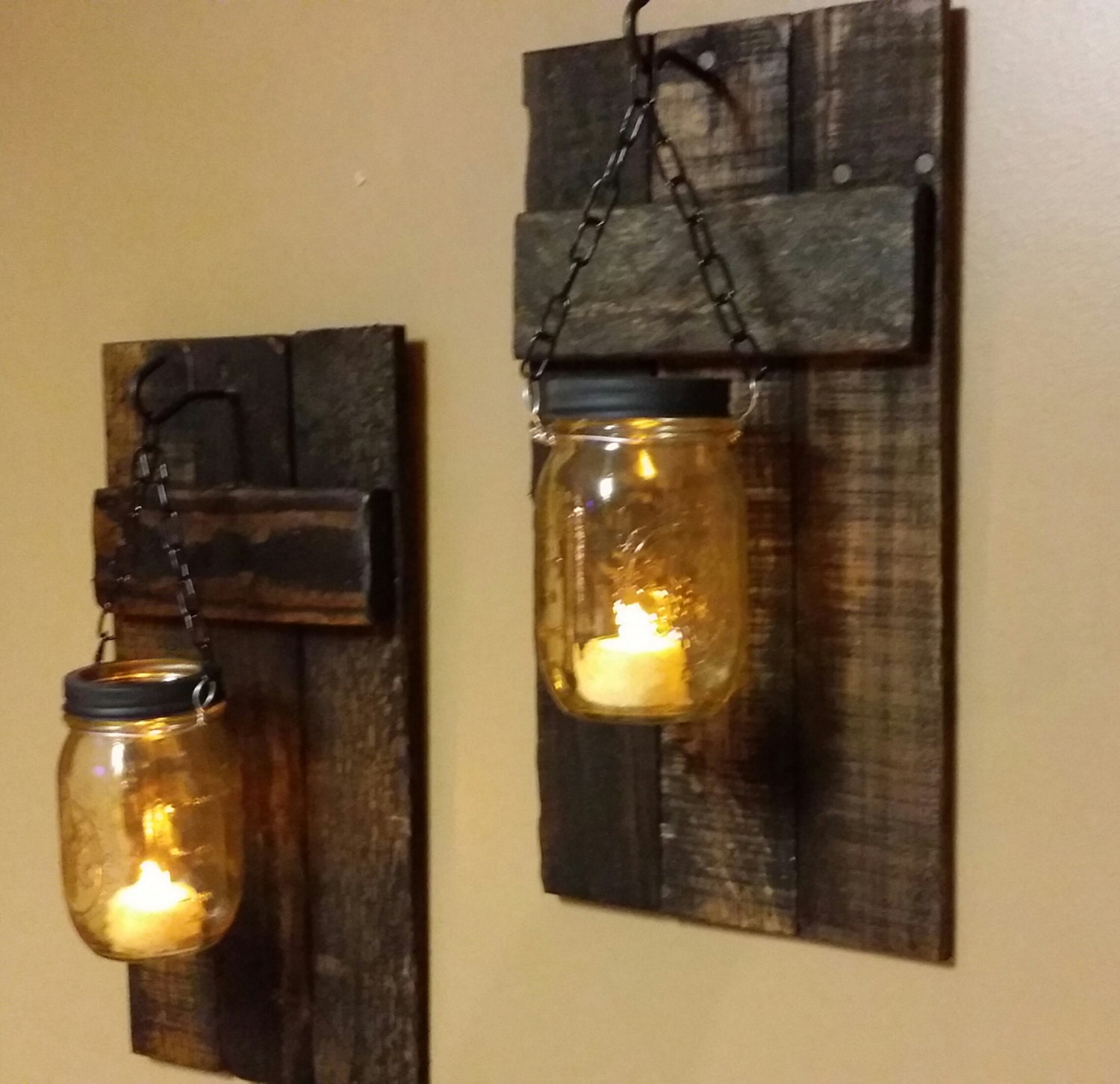 Rustic wood candle holder rustic decor sconces mason jar zoom arubaitofo Gallery
