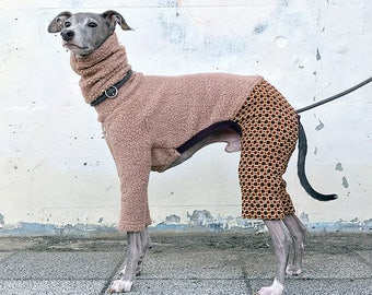 Italian Greyhound Clothing, Granny Style Boa Wool Knit Jammies,Jumpsuit,Romper,Onesie [Cinnamon/Orange]