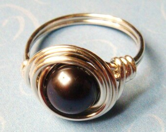 Black Pearl Ring  Black Freshwater Pearl Sterling Silver Ring Wire Wrapped Ring