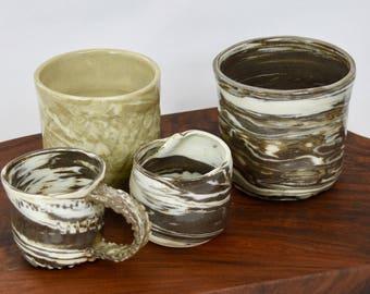 irregular brown and white smallish cup