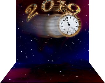 2019 New Year's Eve Backdrop - Swing Time - High Quality Seamless Fabric