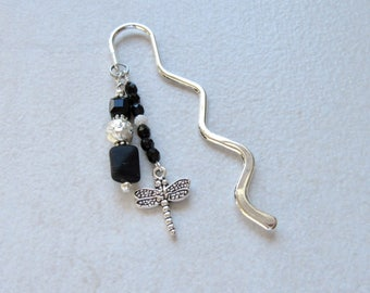 Beaded bookmark, Jet bookmark, crystal book mark, Dragonfly bookmark