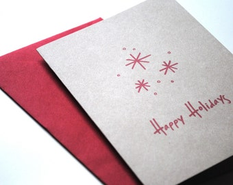 happy holidays snowflake eco-friendly greetings - set of 8 | recycled | blank | customizable