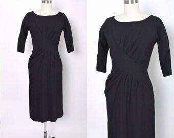 Vintage 1940s Dress 40s Black Dress Draped Front Cocktail Dress