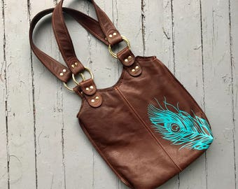 SMALL PEACOCK BAG - small leather tote - customizable leather tote - tote bag - peacock purse - handmade leather bag - everyday purse