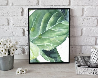 green print, botanical art, tropical leaf - 3 sizes available Giclee print