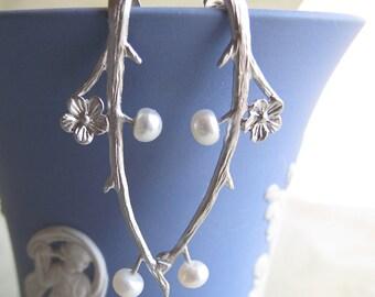grow - flower branch post earrings