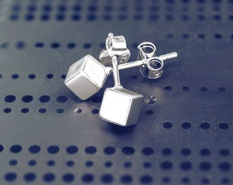 Sterling Silver Cube Stud Earrings