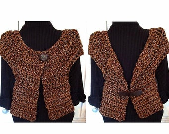 CROCHET PATTERN, number 719 - Quick And Easy Bolero shrug jacket - Make it any size Girls to Women 4XL plus size, short or long sleeves.