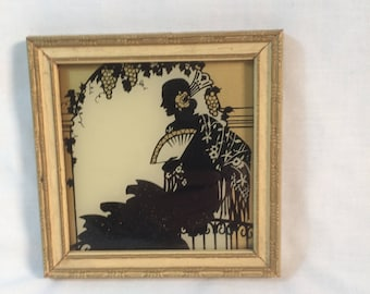 Vintage 1937 Silhouette Spanish Lady Sitting Under a Grape Arbor Framed Silhouette Small Vintage Silhouette with Original Frame