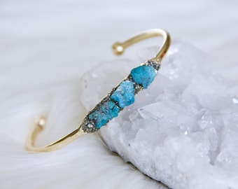 Turquoise Nugget and Pyrite Bracelet