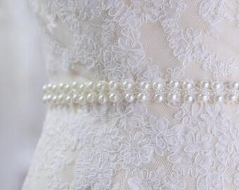 Pearl Wedding Sash, Thin Belt, Thin Bridal Sash,  Ivory Wedding Sash, Pearl Belt, Ivory Bridal Sash, Unique Sash, Pearl Sash- HAILEY