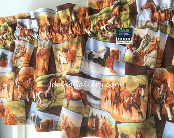 """Horse Curtains 11"""" or 14"""" x 42"""" Wide Horses Cowboys Cowgirls Equestrian Wild Horses Running Horses Pony Animal Curtain Country Valance"""