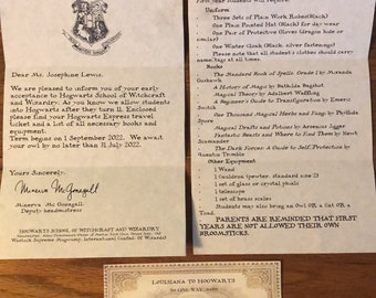 Personalized Acceptance letter, supply list & express ticket