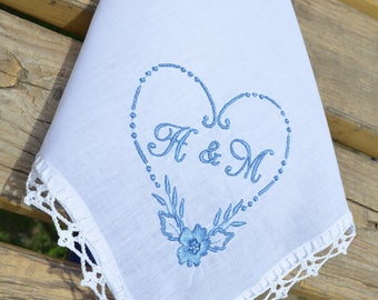 Personalized monogrammed handkerchief for her something blue hankerchief Bridesmaid gift monogram gift ideas lace, wedding day gift